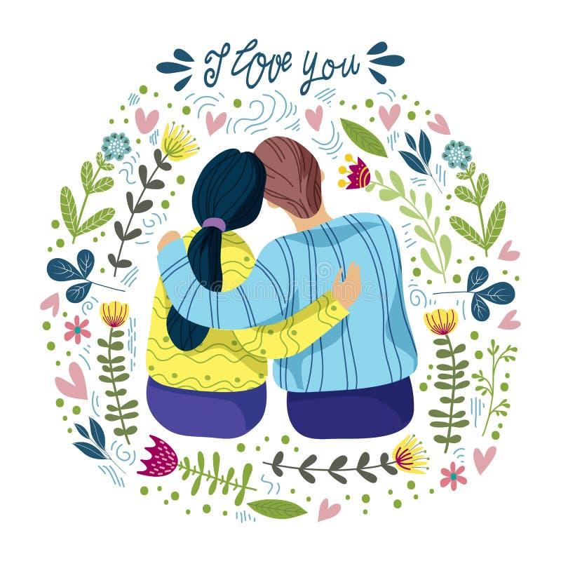 Te amo, los pares cariñosos y las flores y las hojas abstractas con la mano dibujan poniendo letras, ejemplo plano del vector ilustración del vector