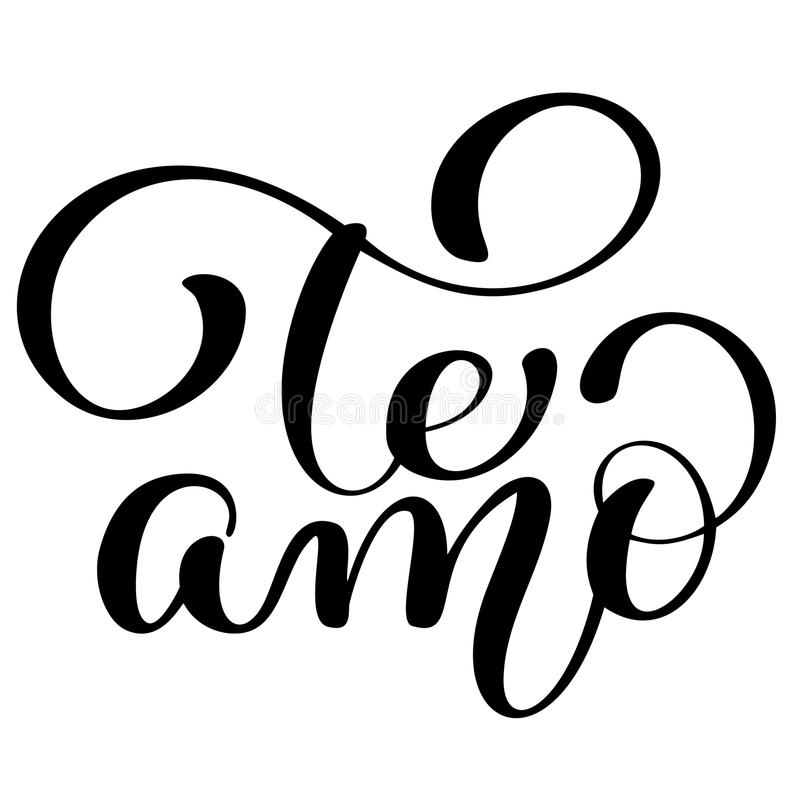 Download Te Amo Love You Spanish Text Calligraphy Vector Lettering For Valentine Card Paint Brush