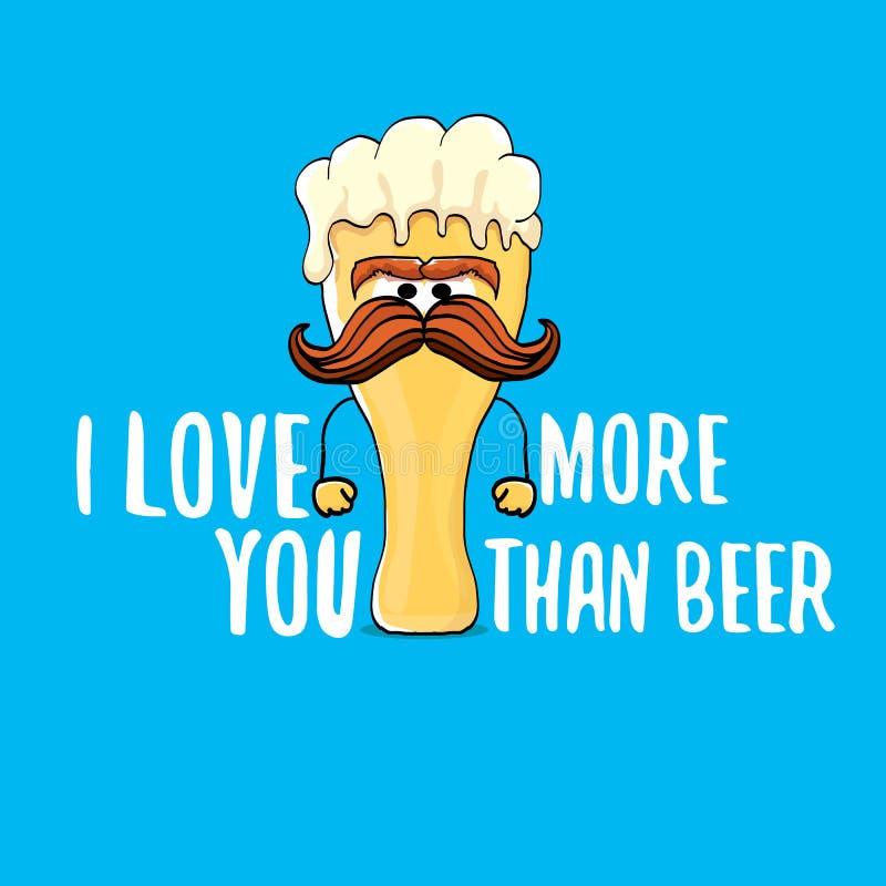 Te amo más que tarjeta de felicitación de día de San Valentín del vector de la cerveza con el personaje de dibujos animados de la libre illustration