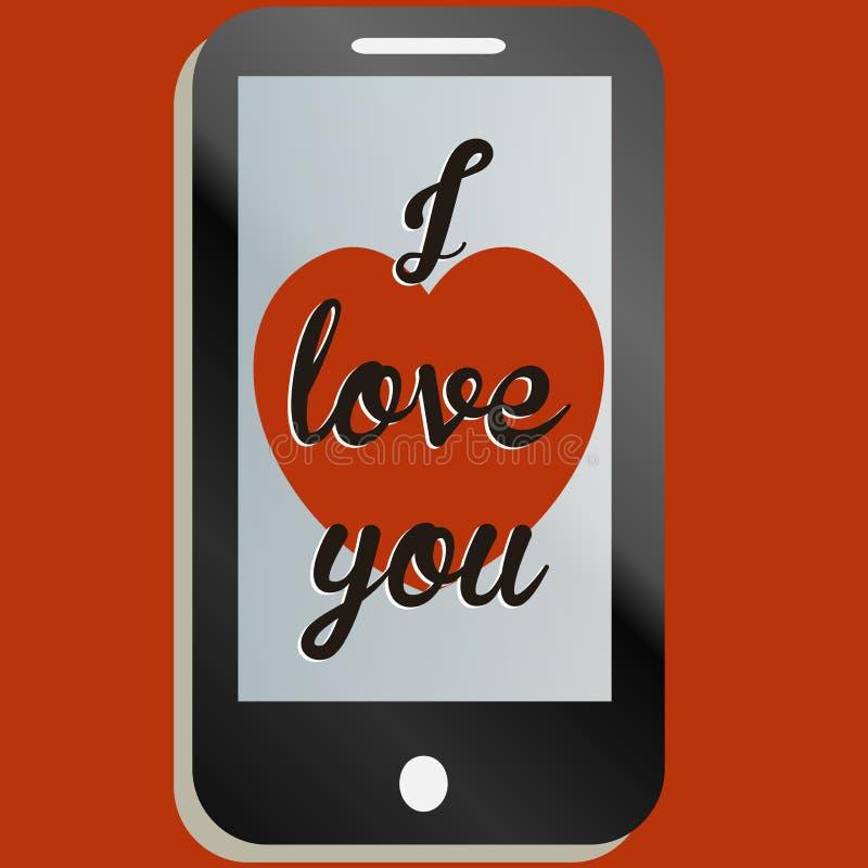 Te amo mensaje de teléfono móvil stock de ilustración