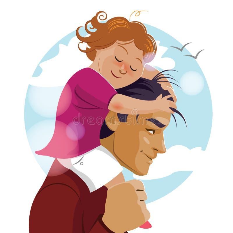 Te amo, papá Padre Day El papa lleva a su hija en el suyo ilustración del vector