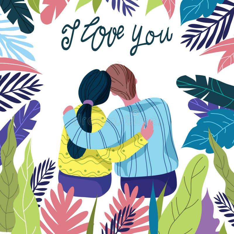 Te amo, pares cariñosos entre las hojas florales brillantes en un fondo blanco con las letras del drenaje de la mano, vector plan ilustración del vector