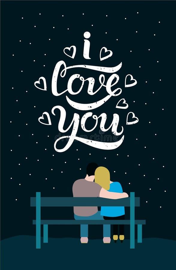 Te amo plantilla del cartel de las letras de la tipografía, fondo negro libre illustration