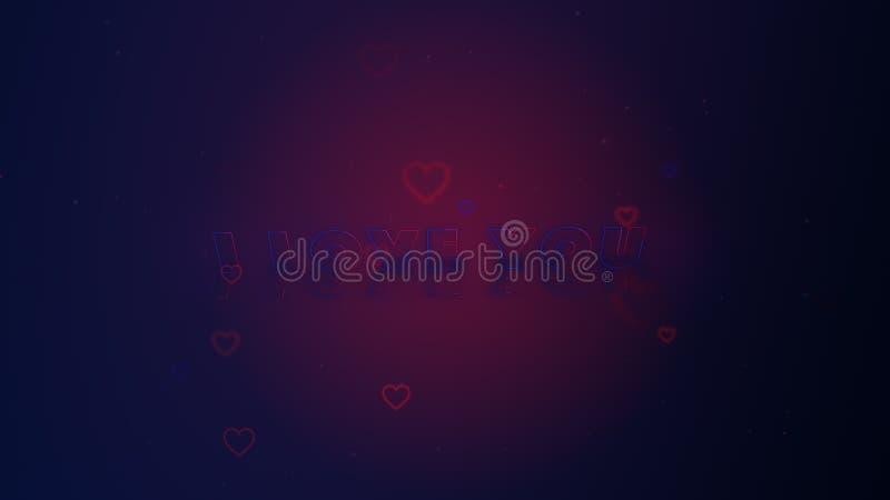 Te amo Poco los corazones est? en fondo mezclado rosado-azul con las chispas Backgroud conceptual stock de ilustración