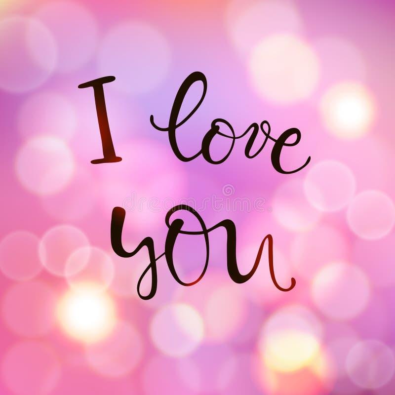 Te amo, poniendo letras, texto manuscrito para el día de tarjetas del día de San Valentín en fondo borroso con el bokeh de las lu stock de ilustración