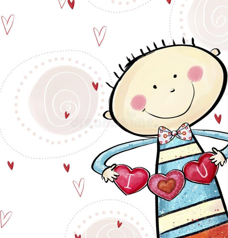 Te amo postal Muchacho lindo con los corazones Tarjeta de felicitación del día de tarjeta del día de San Valentín Fondo del amor  libre illustration