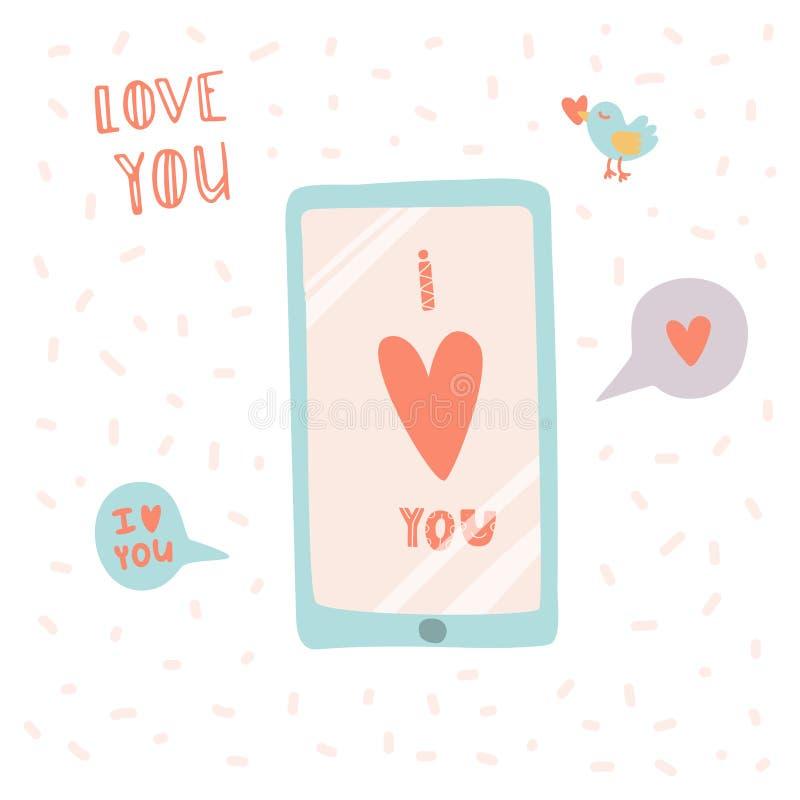 Te amo Smartphone con estilo dibujado de la historieta del mensaje a disposición ilustración del vector