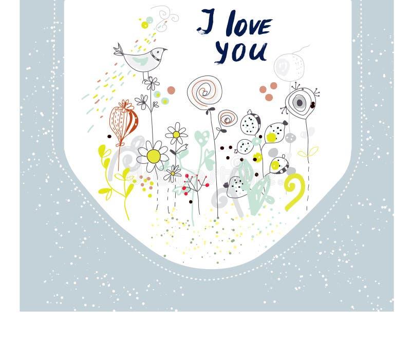 Te amo tarjeta con las flores y los pájaros stock de ilustración