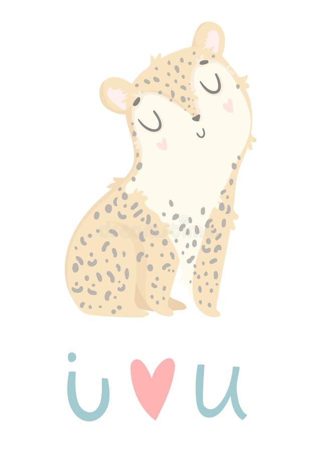 Te amo tarjeta de felicitación Leopardo dibujado mano linda ilustración del vector