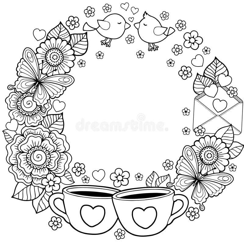 Te amo Tenga un día agradable Fondo abstracto hecho de flores, de tazas, de mariposas, y de pájaros stock de ilustración