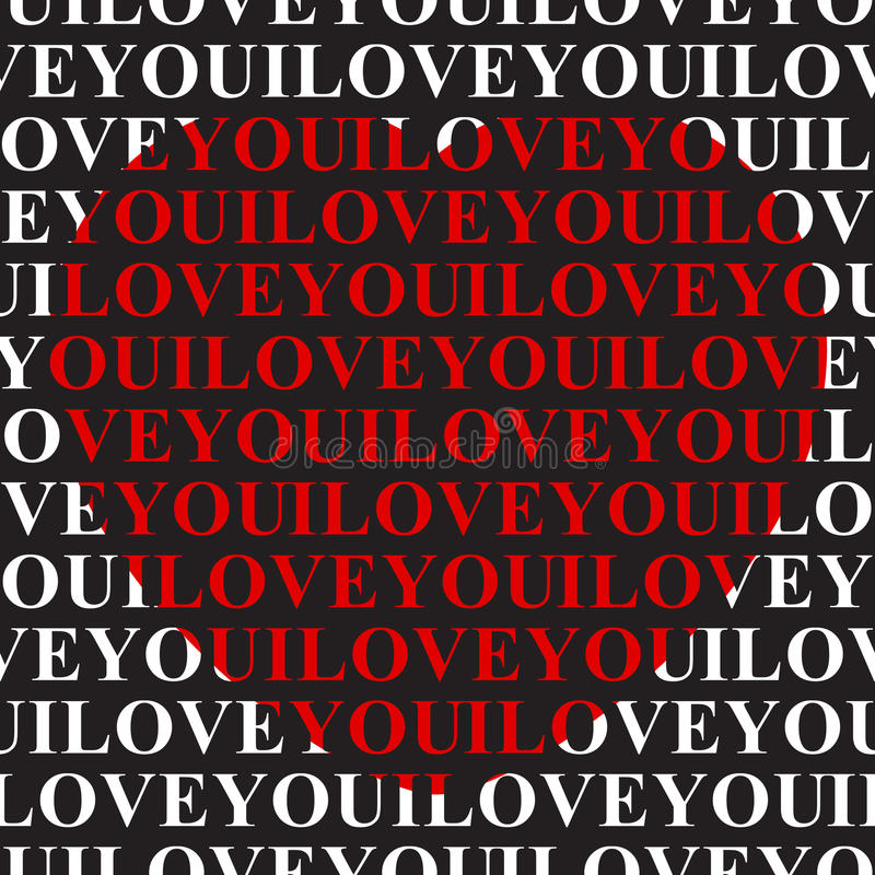 Te amo - texto inconsútil y corazón rojo grande ilustración del vector