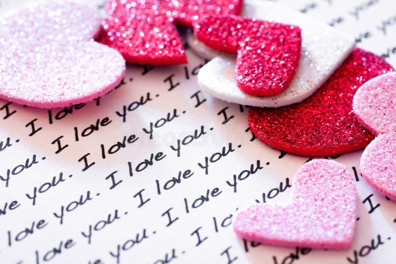 Te amo y corazones fotos de archivo libres de regalías