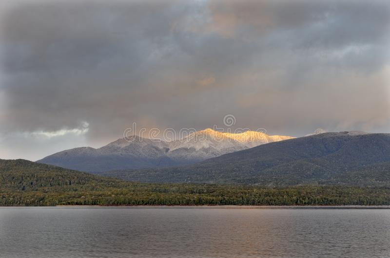 Te Anau Glowing in Morning stock photography