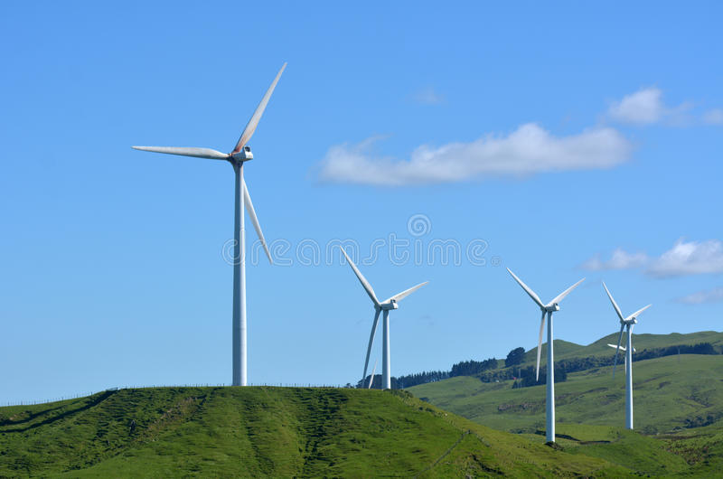 Te Apiti Wind Farm in Palmerston Nord, Neuseeland stockbild