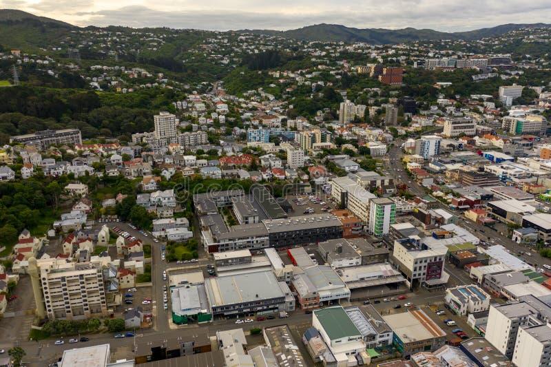 Te Aro Neighborhood, visión aérea imágenes de archivo libres de regalías