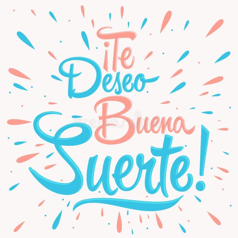 Te deseo buena suerte - życzę ci szczęście hiszpański tekst, wycena typografia ilustracji