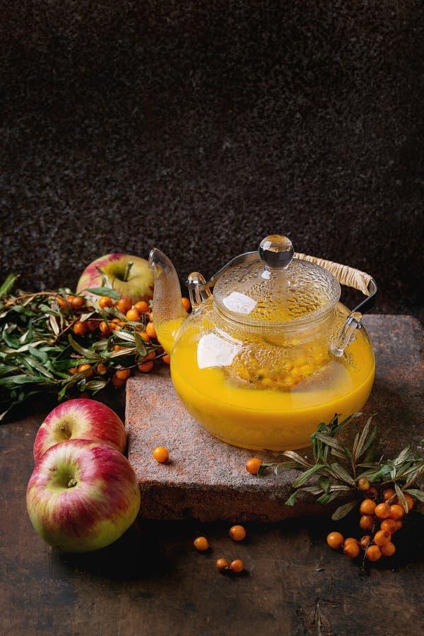 Te för bärhavsbuckthorn arkivfoton