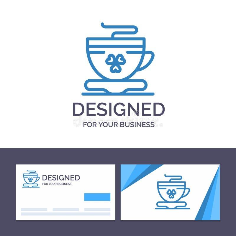 Te för idérik mall för affärskort och logo, kaffe, kopp, Irland vektorillustration stock illustrationer