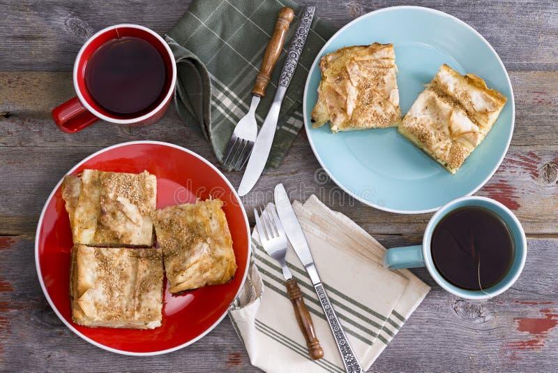 Te för två på en vårpicknick royaltyfri foto