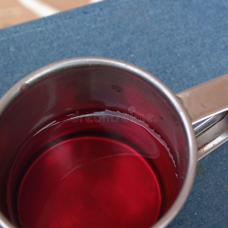 Te i en stålkopp royaltyfri foto