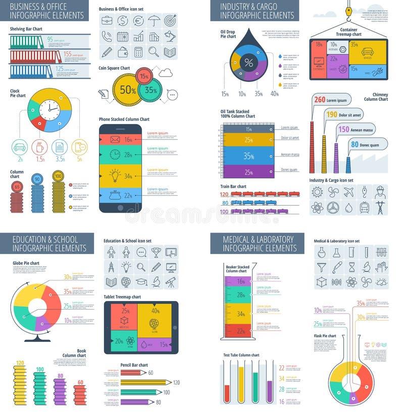Te infographic di affari, dell'ufficio, di istruzione, di industria e di scienza illustrazione di stock