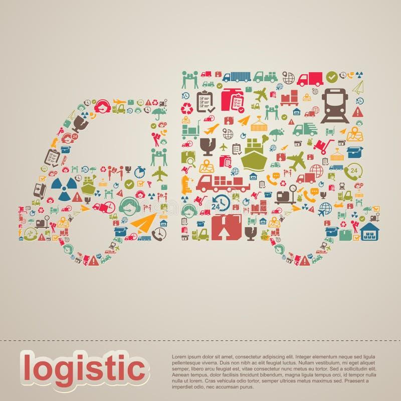 Te infographic logístico da entrega da distribuição e do transporte ilustração do vetor