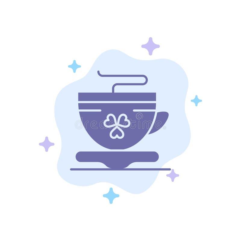 Te kaffe, kopp, Irland blå symbol på abstrakt molnbakgrund royaltyfri illustrationer