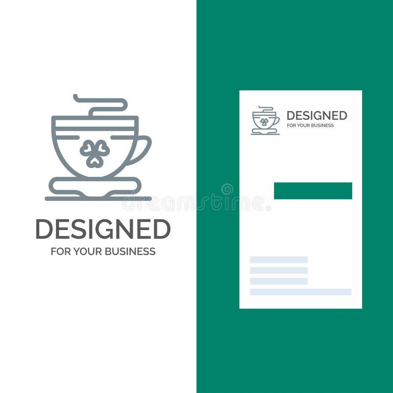 Te, kaffe, kopp, Irland Grey Logo Design och mall för affärskort royaltyfri illustrationer