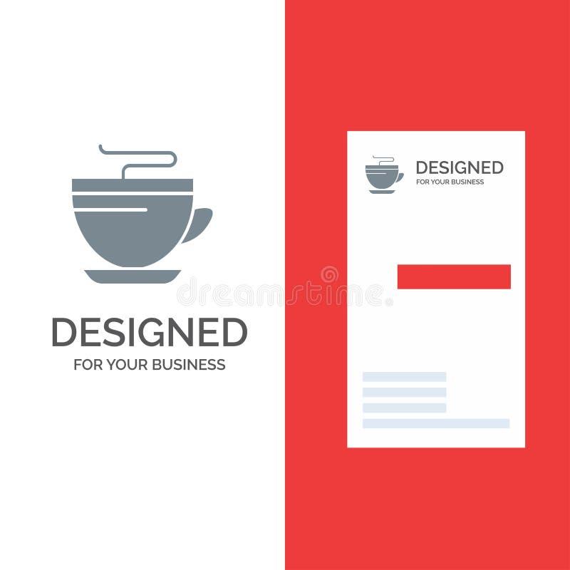Te, kaffe, kopp, lokalvård Grey Logo Design och mall för affärskort royaltyfri illustrationer
