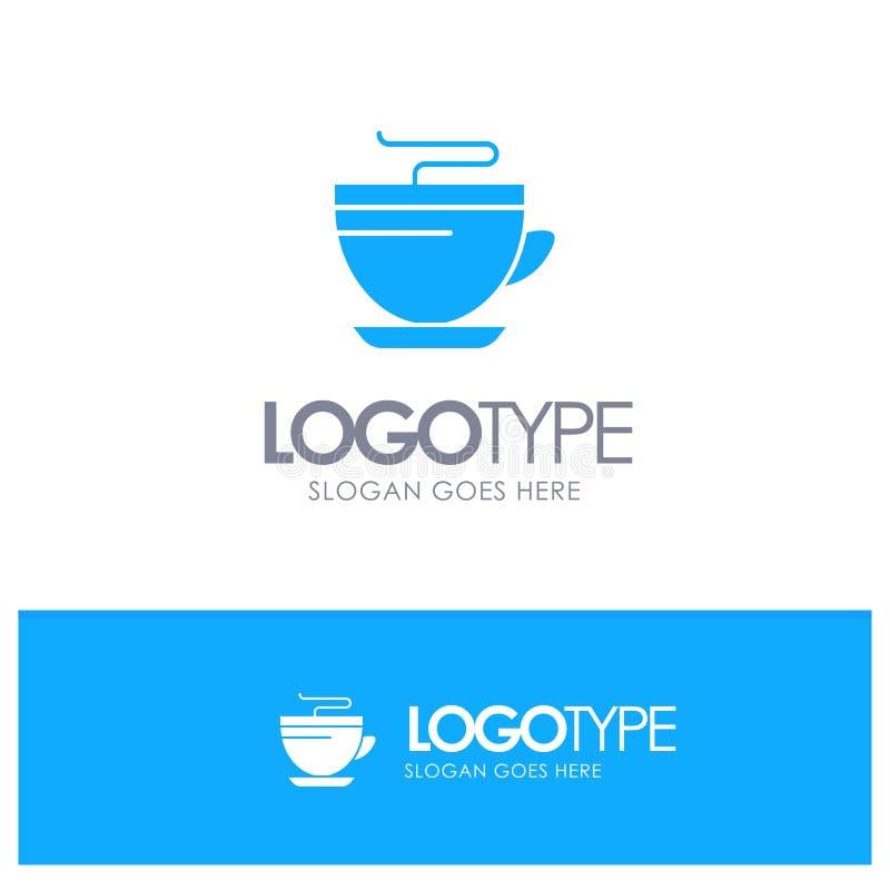 Te kaffe, kopp, rengörande blå fast logo med stället för tagline royaltyfri illustrationer