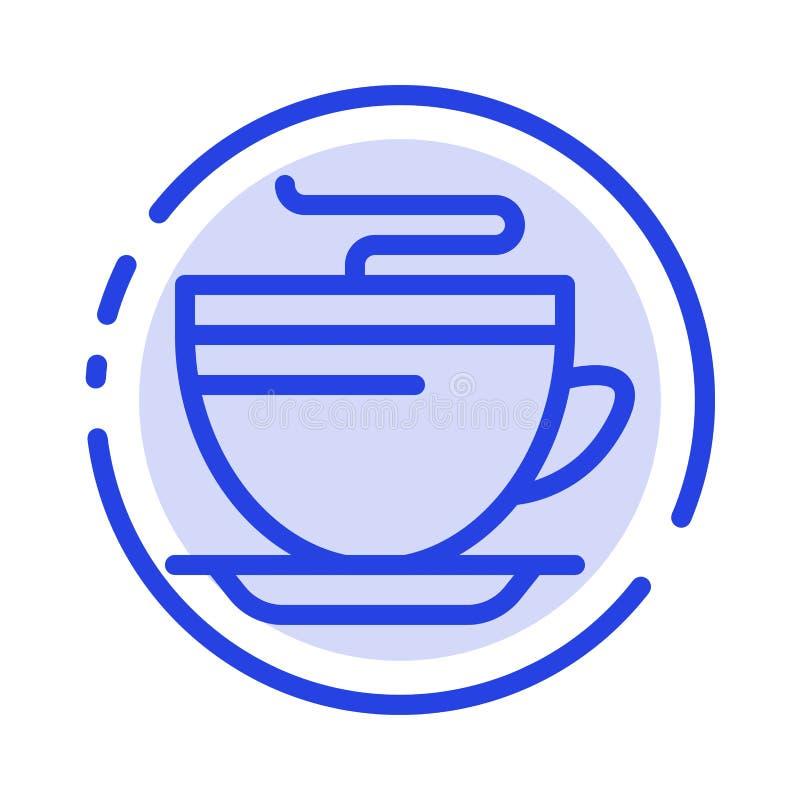 Te kaffe, kopp, rengörande blå prickig linje linje symbol stock illustrationer