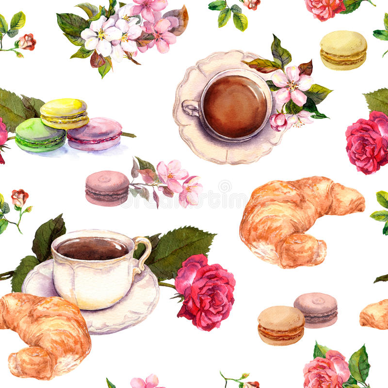 Te kaffemodell - blommor, gifflet, tekoppen, makron bakar ihop vattenfärg seamless stock illustrationer