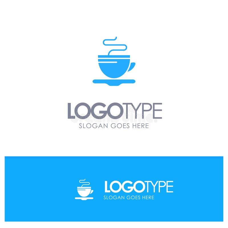 Te kopp, kaffe, blå logovektor för hotell stock illustrationer