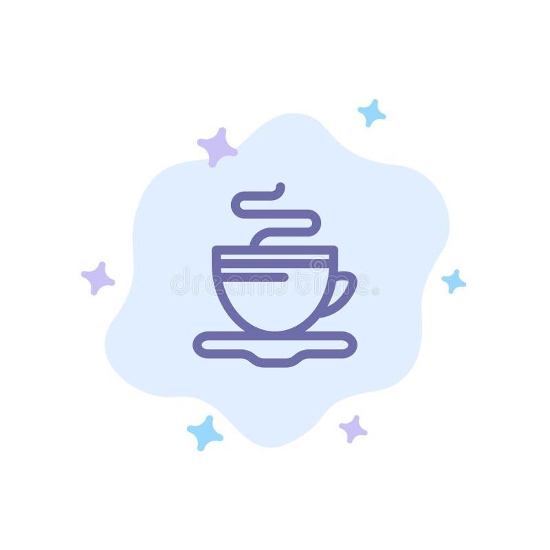 Te kopp, kaffe, blå symbol för hotell på abstrakt molnbakgrund royaltyfri illustrationer