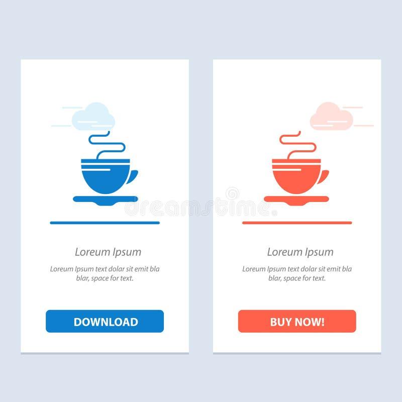 Te, kopp, kaffe, hotellblått och röd nedladdning och att köpa nu mallen för rengöringsdukmanickkort vektor illustrationer