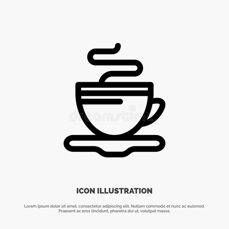 Te kopp, kaffe, hotellvektorlinje symbol vektor illustrationer