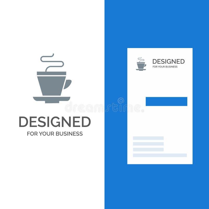 Te, kopp, kaffe, indier Grey Logo Design och mall för affärskort royaltyfri illustrationer