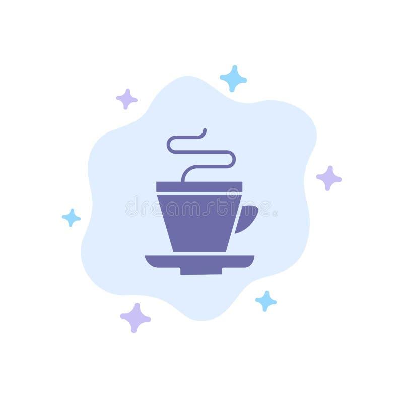 Te kopp, kaffe, indisk blå symbol på abstrakt molnbakgrund vektor illustrationer