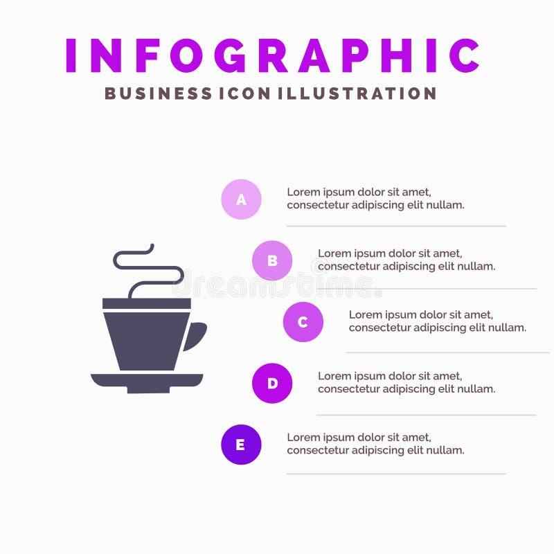 Te kopp, kaffe, indisk fast bakgrund för presentation för symbolsInfographics 5 moment royaltyfri illustrationer