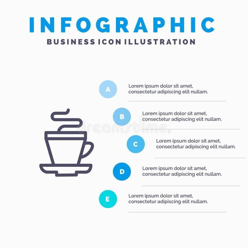 Te kopp, kaffe, indisk linje symbol med för presentationsinfographics för 5 moment bakgrund stock illustrationer