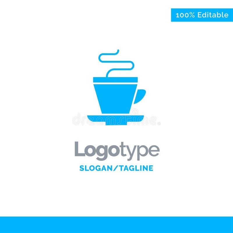 Te kopp, kaffe, indiska blåa fasta Logo Template St?lle f?r Tagline royaltyfri illustrationer