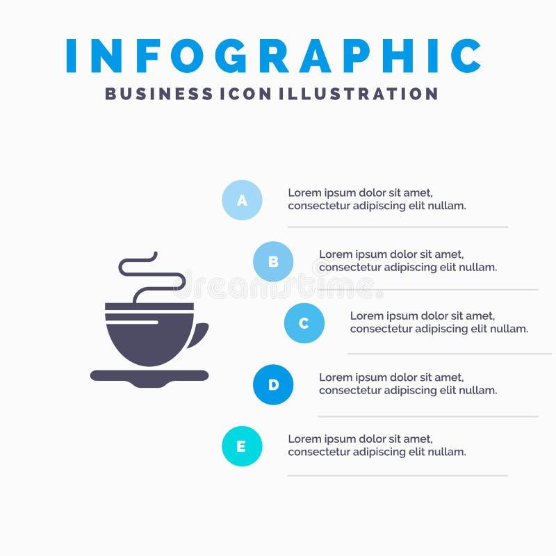 Te kopp, kaffe, mall för hotellInfographics presentation Presentation för 5 moment royaltyfri illustrationer