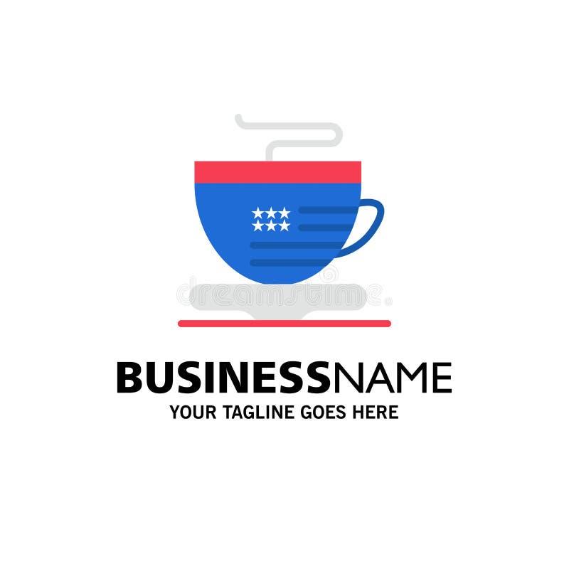 Te kopp, kaffe, USA-affär Logo Template plan f?rg vektor illustrationer