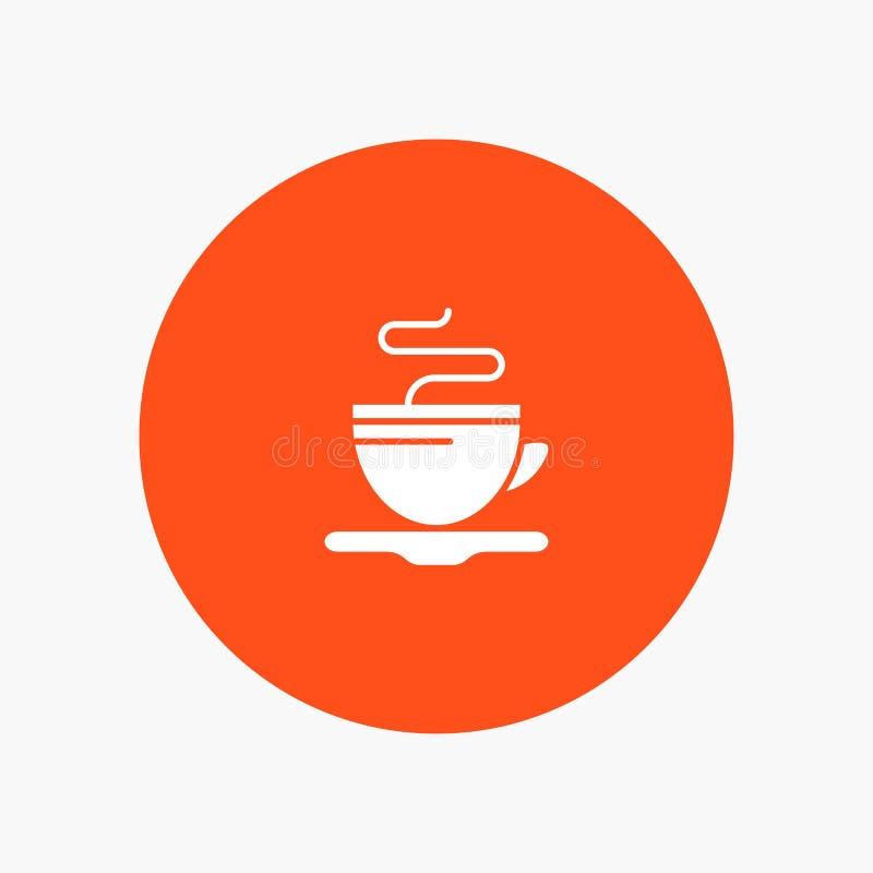 Te kopp, kaffe, vit skårasymbol för hotell royaltyfri illustrationer