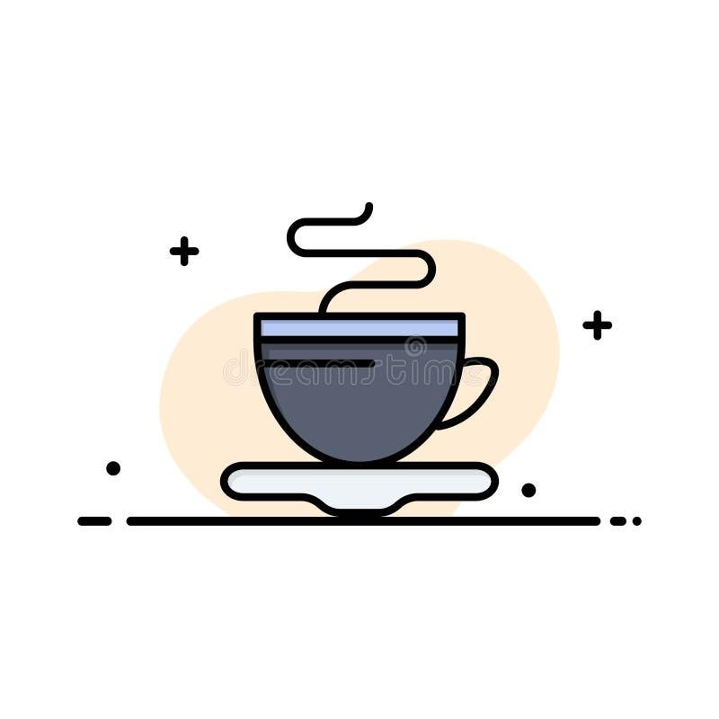 Te koppen, kaffe, plan linje för hotellaffär fyllde mallen för symbolsvektorbanret vektor illustrationer
