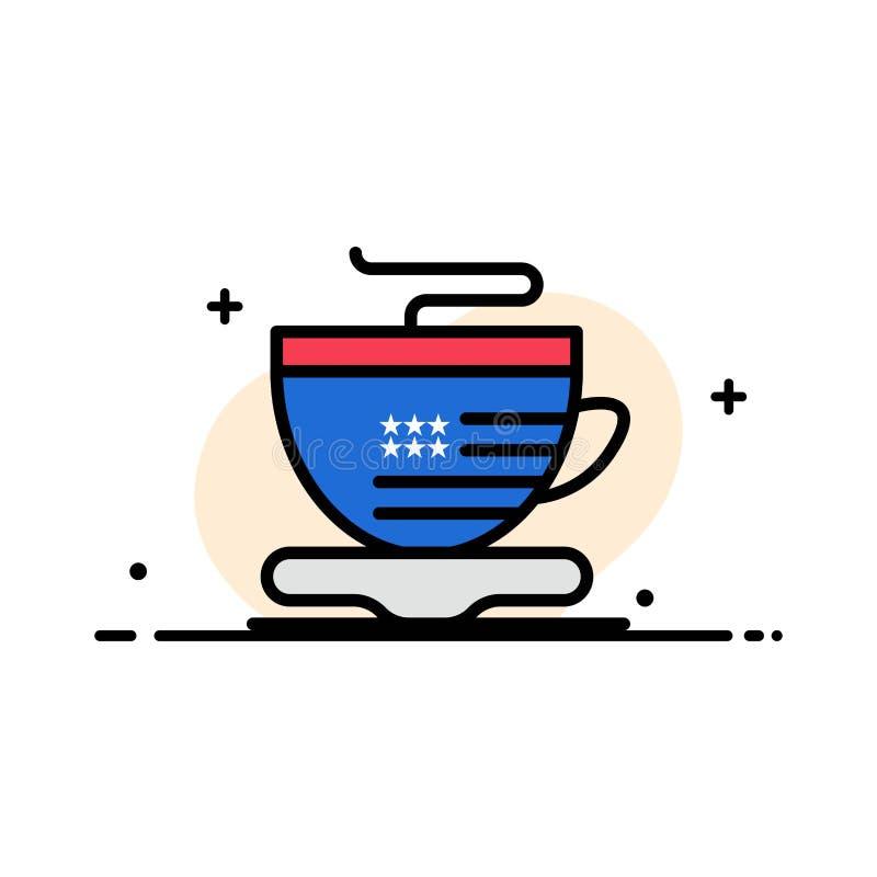 Te koppen, kaffe, plan linje för USA-affär fyllde mallen för symbolsvektorbanret royaltyfri illustrationer