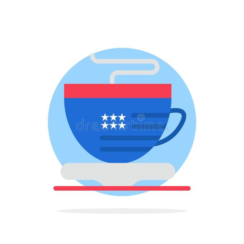 Te koppen, kaffe, USA gör sammandrag symbolen för färg för cirkelbakgrund den plana stock illustrationer