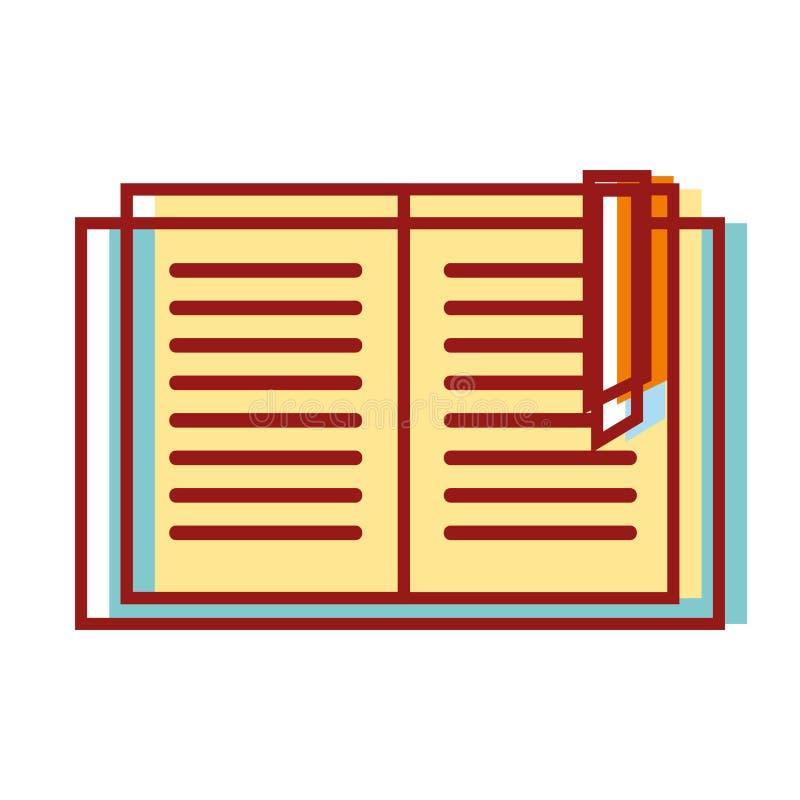 Te leren en het te bestuderen voorwerp van het onderwijsboek vector illustratie