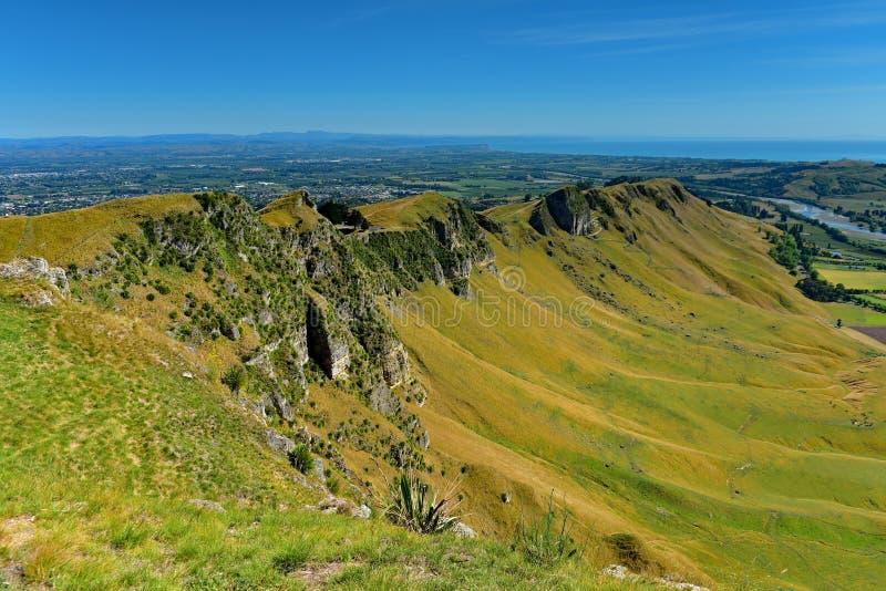 Te Mata Peak och omgeende landskap i Hastings, Nya Zeeland arkivbilder