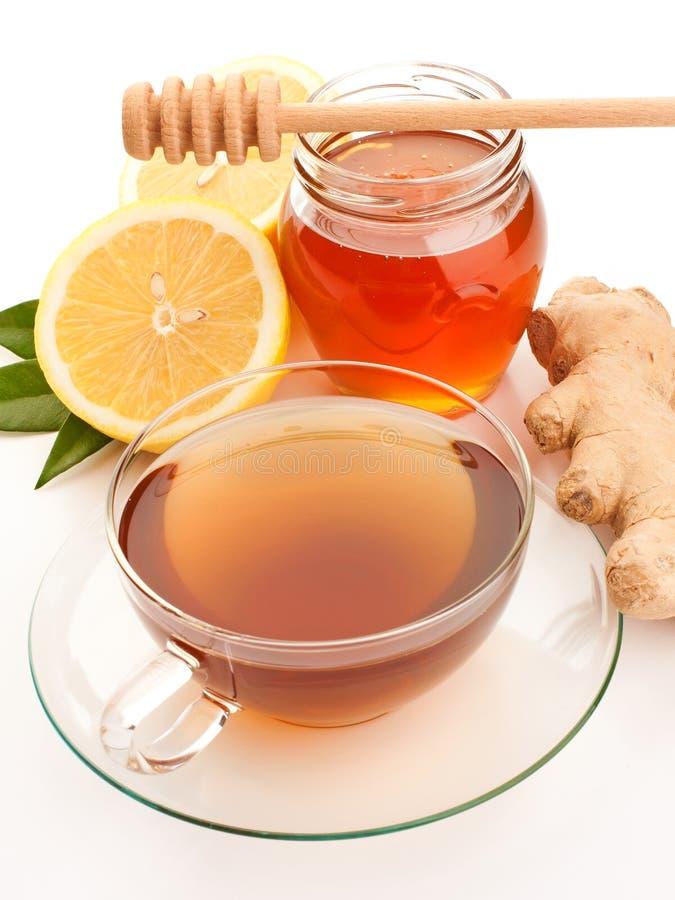 Te med honung, citronen och ingefäran royaltyfria bilder